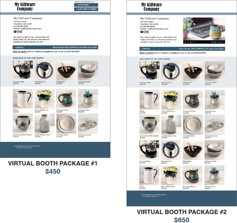 VOLT 2020 Packages - Virtual Booth Package #1 - $450, Virtual Booth Package #2 - $650